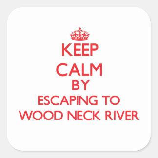 Guarde la calma escapándose al río de madera Massa Calcomanías Cuadradass Personalizadas