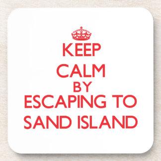Guarde la calma escapándose para enarenar la isla posavasos de bebidas