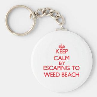 Guarde la calma escapándose para escardar la playa llavero personalizado