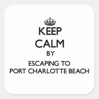 Guarde la calma escapándose para virar la playa pegatina cuadrada
