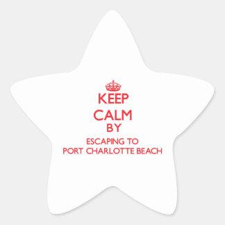 Guarde la calma escapándose para virar la playa colcomanias forma de estrellaes
