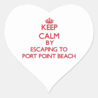 Guarde la calma escapándose para virar la playa pegatina de corazón personalizadas