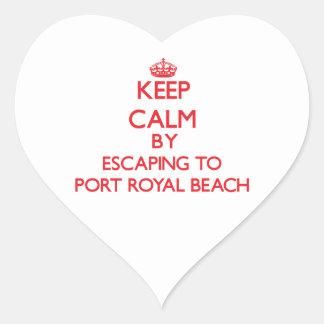 Guarde la calma escapándose para virar la playa pegatinas de corazon