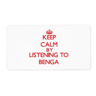 Guarde la calma escuchando BENGA Etiquetas De Envío