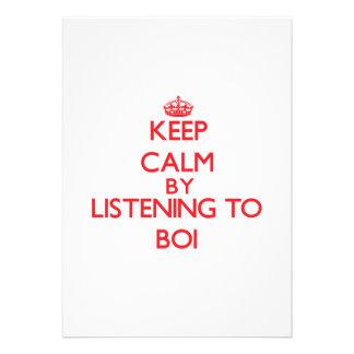 Guarde la calma escuchando BOI Invitaciones Personalizada