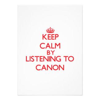 Guarde la calma escuchando CANON Comunicado