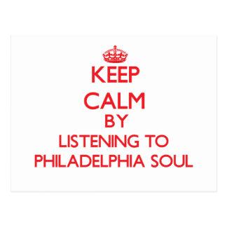 Guarde la calma escuchando el ALMA de PHILADELPHIA Tarjetas Postales