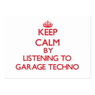 Guarde la calma escuchando el GARAJE TECHNO Plantilla De Tarjeta De Visita