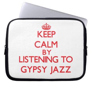 Guarde la calma escuchando el JAZZ GITANO Fundas Portátiles