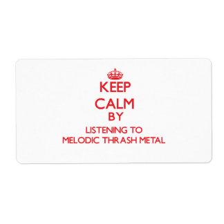 Guarde la calma escuchando el METAL MELÓDICO del M Etiqueta De Envío