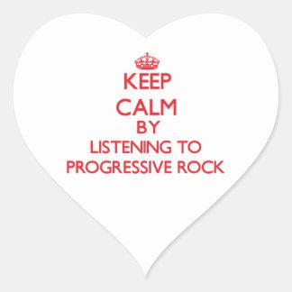 Guarde la calma escuchando el ROCK PROGRESIVO Pegatina Corazón Personalizadas