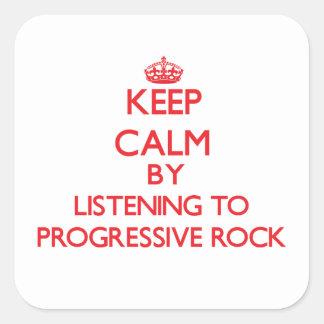 Guarde la calma escuchando el ROCK PROGRESIVO Calcomanías Cuadradass