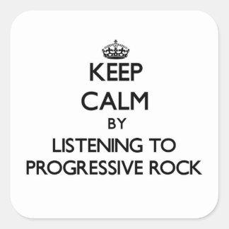 Guarde la calma escuchando el ROCK PROGRESIVO Calcomania Cuadradas Personalizadas