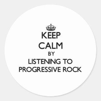 Guarde la calma escuchando el ROCK PROGRESIVO Pegatinas Redondas