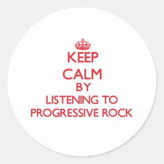 Guarde la calma escuchando el ROCK PROGRESIVO Pegatina Redonda
