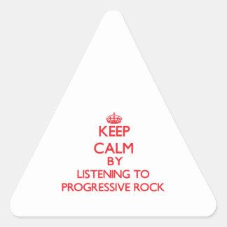 Guarde la calma escuchando el ROCK PROGRESIVO Calcomanía Triangulo Personalizadas