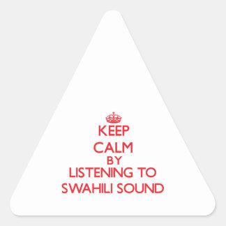 Guarde la calma escuchando el SONIDO del SUAJILI Calcomania De Triangulo Personalizadas