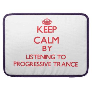 Guarde la calma escuchando el TRANCE PROGRESIVO Fundas Para Macbooks