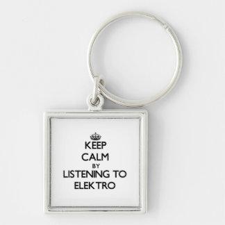 Guarde la calma escuchando ELEKTRO Llavero Personalizado