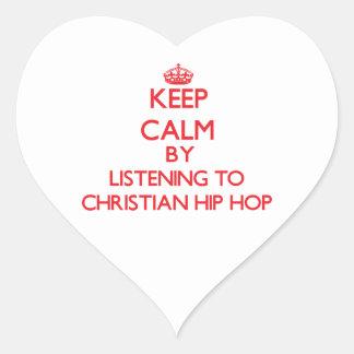 Guarde la calma escuchando HIP HOP CRISTIANO Pegatinas Corazon