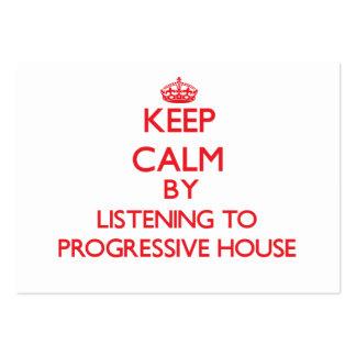 Guarde la calma escuchando la CASA PROGRESIVA Plantillas De Tarjeta De Negocio