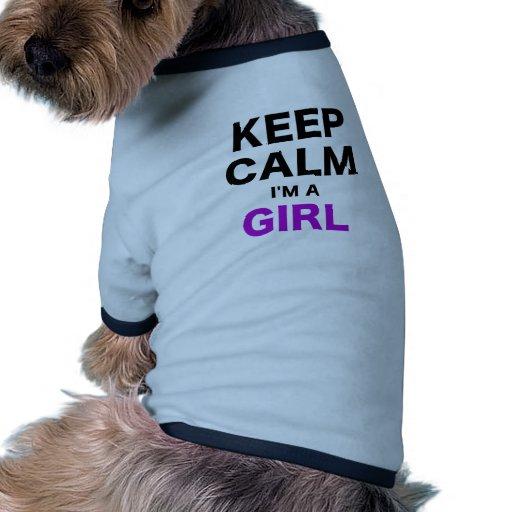 Guarde la calma Im un chica Camiseta Con Mangas Para Perro