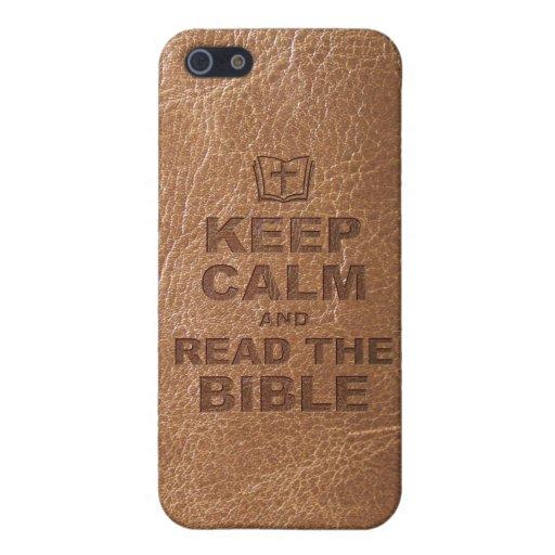 Guarde la calma leen la biblia iPhone 5 carcasas