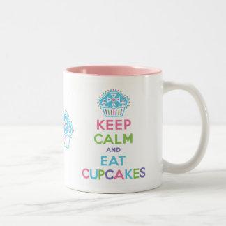 Guarde la calma para comer la taza de las