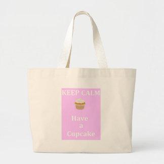 Guarde la calma - para comer una magdalena bolsas lienzo