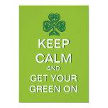 Guarde la calma para conseguir su verde el el día invitación 12,7 x 17,8 cm