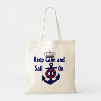 Guarde la calma para continuar el ancla bolsa tela barata