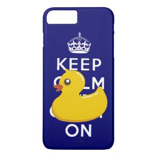 Guarde la calma para continuar el caucho Ducky Funda iPhone 7 Plus