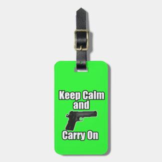 Guarde la calma para continuar etiquetas maleta