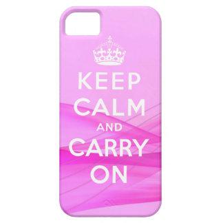 Guarde la calma para continuar rosa del caso del i iPhone 5 funda