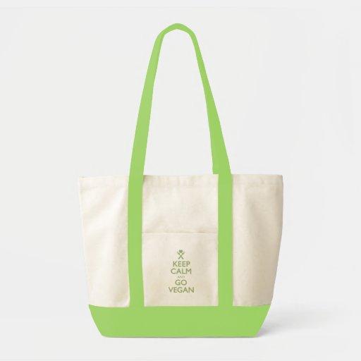 Guarde la calma para ir vegano bolsa lienzo