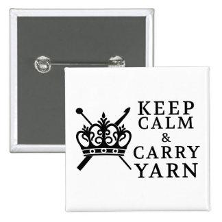 Guarde la calma para llevar el hilado {la luz} pin cuadrada 5 cm