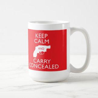 Guarde la calma para llevar la taza roja grande en