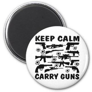 Guarde la calma para llevar los armas imán redondo 5 cm