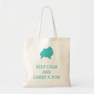 Guarde la calma para llevar un pom bolsa tela barata