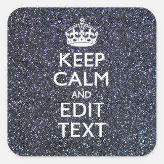 Guarde la calma para su texto en estilo de pegatina cuadrada