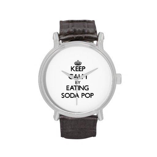 Guarde la calma por gaseosa de la consumición reloj de mano