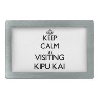 Guarde la calma por Kipu que visita Kai Hawaii Hebilla Cinturón Rectangular