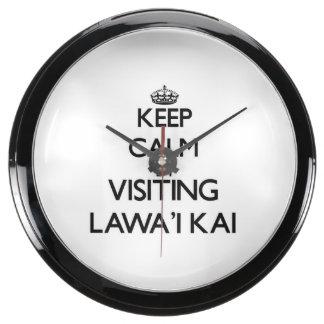 Guarde la calma por Lawa'I que visita Kai Hawaii Reloj Pecera