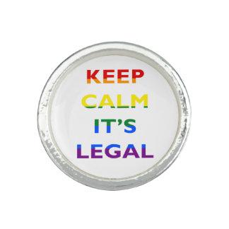 Guarde la calma que es anillo legal de la ayuda