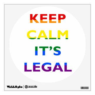 Guarde la calma que es etiqueta legal de la pared