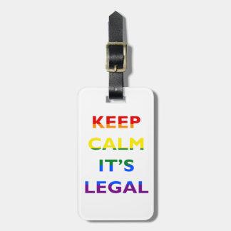 Guarde la calma que es etiqueta legal del equipaje etiqueta para equipaje
