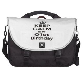 Guarde la calma que es mi 1r cumpleaños bolsa para ordenador
