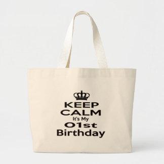 Guarde la calma que es mi 1r cumpleaños bolsa tela grande