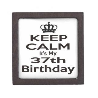 Guarde la calma que es mi 37.o cumpleaños cajas de regalo de calidad
