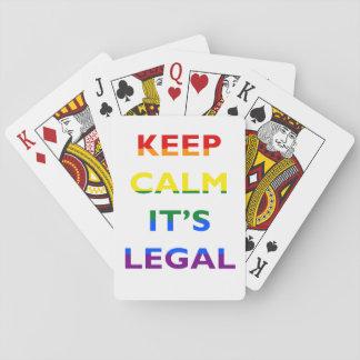 Guarde la calma que es naipes legales de la ayuda